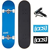 "[CCS] Skateboard Complete - Color Logo and Natural Wood - Fully Assembled - Includes Skateboard Tool and Stickers (Blue, 7.50"")"