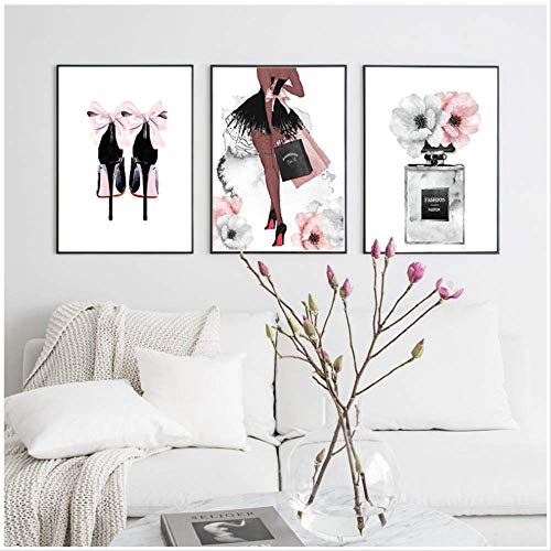 UK/_ 3PCS GIRL CLOTH WALL PAINTING PICTURE ART LIVING ROOM HOME DECOR UNFRAMED SU