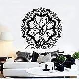 Madala Lotus Flower Abstract Tree of Life Kabbalah Ramas Planta Etiqueta de la pared Vinilo Arte Calcomanía Dormitorio Sala de estar Oficina Club Estudio Salón de belleza Decoración del hogar Mur