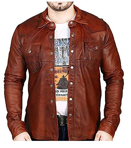 Camisa de cuero genuino para hombre chaqueta marrón suave piel de cordero lavado encerado camisa de cuero real, chaqueta de cuero de cera para hombre