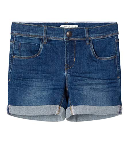 NAME IT Mädchen NKFSALLI DNMTEJA 3323 NOOS Shorts, Dark Blue Denim, 128