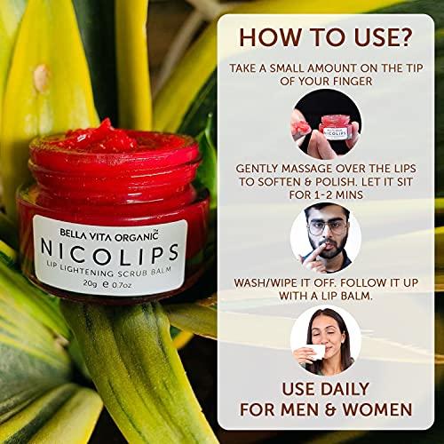 Bella Vita Organic NicoLips Lip Balm Scrub For Lightening & Brightening Dark Lips For Men & Women, 20g