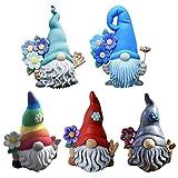 Lustige Farbe Gartenzwerg Figuren Hält eine kleine Blume 5 cm aus Kunstharz Gartenwichtel Gartendeko Figuren für Hof Balkon Geschenke für Kinder