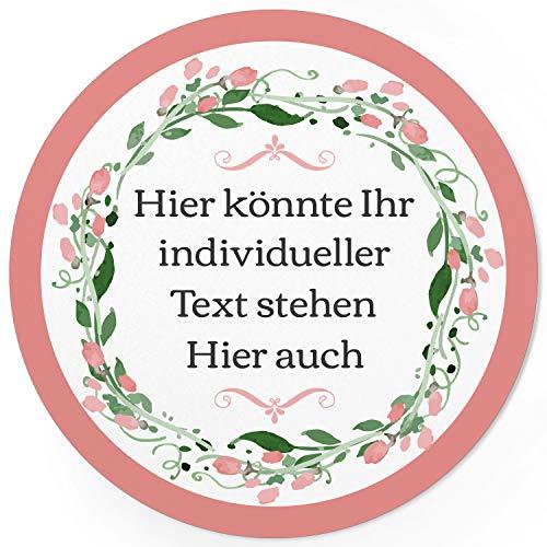 24 PERSONALISIERTE runde Etiketten mit Motiv: Rosa Blume Vintage Kranz - Ihre Aufkleber online selbst gestaltet, ganz individuell