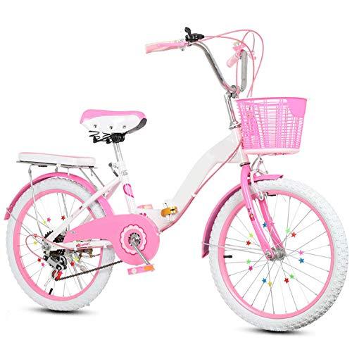 SYCHONG Biciclette per Bambini, Single Speed Folding Bike, La Principessa del Vento Studente Auto, Adatto per Le Ragazze 8-16 Anni,1pink,22inches