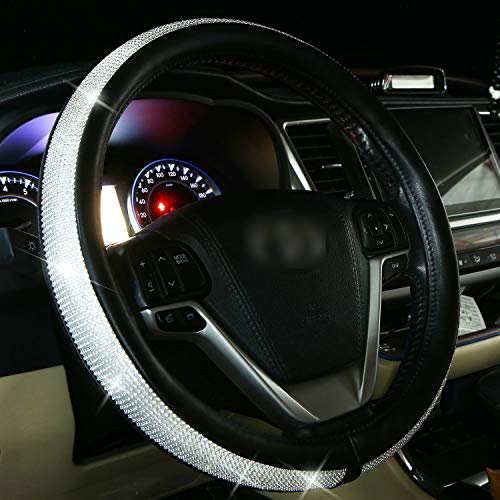 14.5-15 inch Colorful Crystal Anti-Slip Wheel Protector/ Cute Girl Accessories Fuzzy New Diamond Bling Car Steering Wheel Cover for Women Fluffy Black