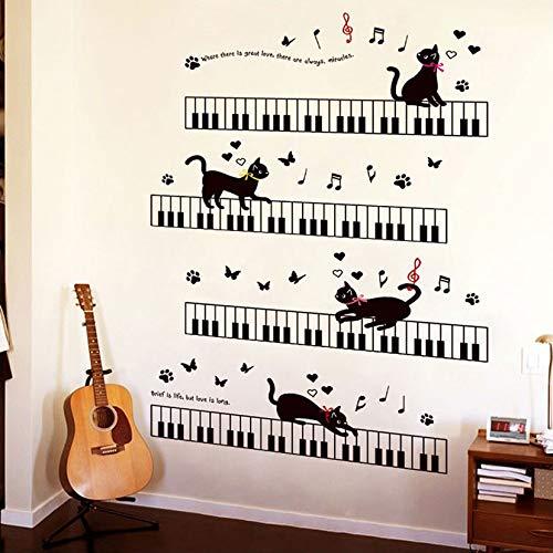 Wall Sticker ZOZOSO El Gato En El Piano Musikinstrumente Música Para Niños Habitaciones Dormitorio Arte Fondo Zócalo Pvc Zócalo Mariposa Decoración De Pared