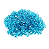 Skyflame 10-Pound Polygon Fire Glass for Fire Pit Fireplace Landscaping,1/2-inch, Aqua Blue