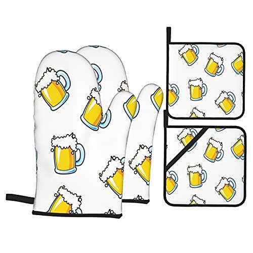 Jarra de Cerveza en Las Vacaciones de otoño Blanco,4Pcs Guantes de Cocina y Juegos de Soportes para Macetas,con Caliente Almohadillas para Cocinar,Hornear,Asar a la Parrilla Guantes