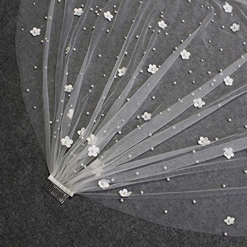 weichuang Velo de novia con perlas y flores, hermoso velo de novia, de metal, para novia, velo de novia, accesorios de boda (color: marfil, longitud del artículo: 100 cm)