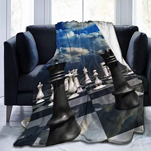 Manta de microfibra ultrasuave, juego de ajedrez, vintage, decoración del hogar, manta cálida para sofá cama, 156 x 150 cm