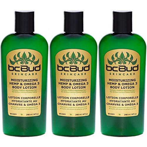 Natural Hemp Body Lotion – BC Bud Moisturizing Hemp & Omega 3 Lotion, for Dry Skin, Itchy Skin, Paraben Free, with Hemp…