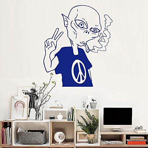 JXAA Alien Peace Love Smoking UFO Wall Stickers y Common Art Design Poster Mural Vinyl Decal Wallpaper 67.2x81.6cm