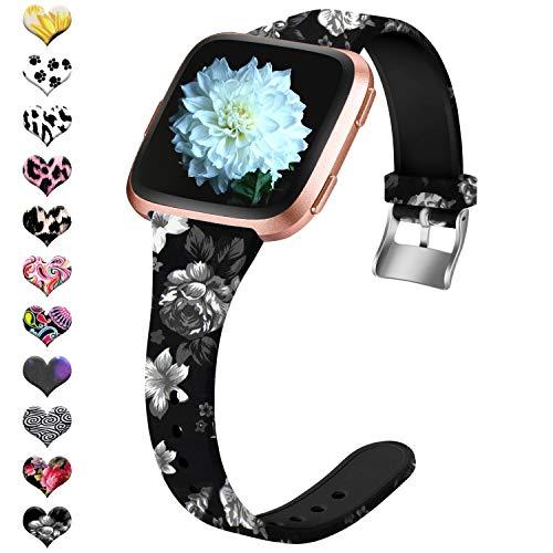 Upeak Ersatzarmband Kompatibel mit Fitbit Versa Armband/Fitbit Versa 2 Armband, Silikon Fadeless Pattern Sport Ersatzgurte Kompatibel mit Fitbit Versa Lite, Frau Mädchen, Groß, Graue Blume