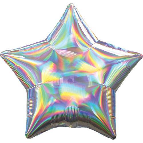 Amscan International Anagram 3927001 standaard folie ballon 1 elke iriserende zilveren ster