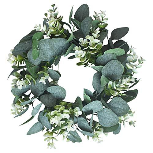 """Eucalipto Artificial Guirnalda Planta, Kapmore 12,99"""" Corona de Navidad Eucalyptus Guirnaldas para Navideñas Fiesta de Bodas Fondo Pared Decoración (Verde 1)"""