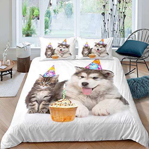 Juego de ropa de cama para tarta de cumpleaños, hipoalergénico, para niños, niñas, adolescentes, lindos perros, decoración del hogar (1 funda de edredón y 2 fundas de almohada), tamaño king