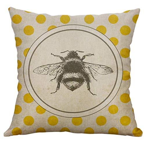 Funda de cojín de lona con diseño de abeja sobre lunares amarillos para decoración del hogar, cama, sofá, silla, 18 x 18 pulgadas, cómoda y práctica