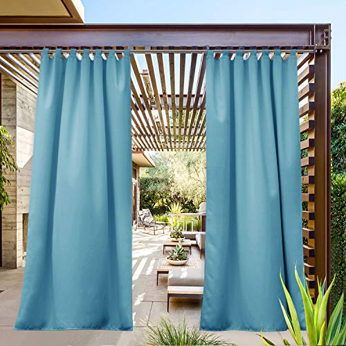 NICETOWN Exterior Lanai Outdoor Curtain Waterproof Teal, Insulated Room Darkening Tab Top Heavy Weight Wind Prevention Sunlight Block for Cabana Drape (1 Panel, 52 x 95 inches, Teal Blue)