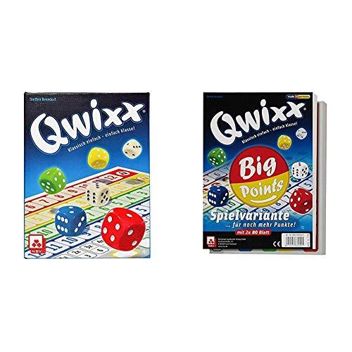 NSV - 4015 - QWIXX - nominiert zum Spiel des Jahres 2013 - Würfelspiel & 4039 - QWIXX Big Points - Zusatzblöcke 2er Set - Würelspiele