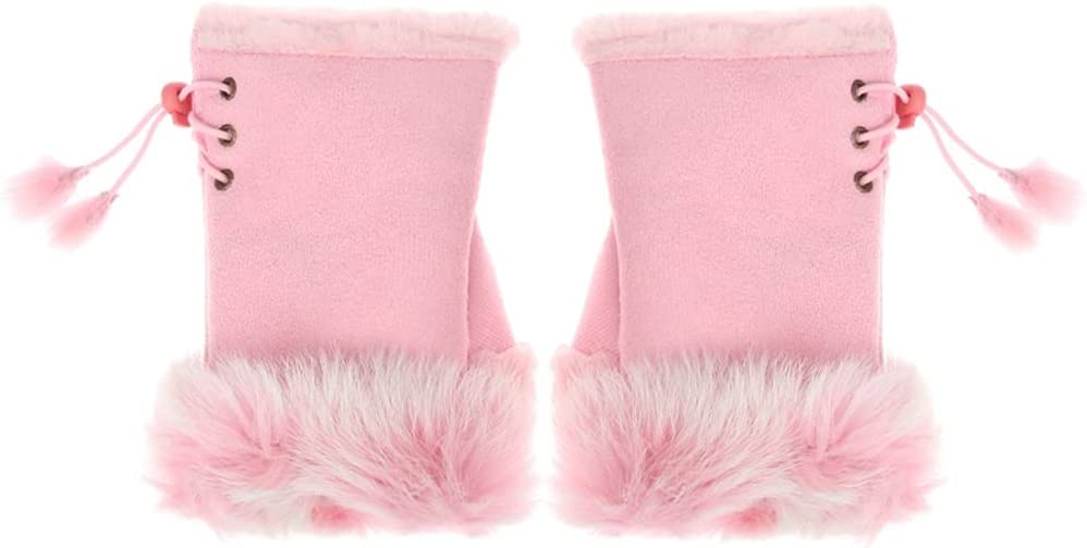 WBDL Fashion Faux Rabbit Hair Gloves for Women Girls Autumn Winter Warm Fingerless Mittens Soft Comfortable Stretch Gloves (Color : Pink)