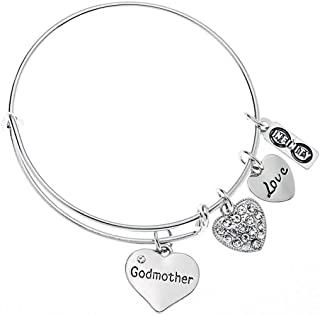 Infinity Collection Godmother Charm Bangle Bracelet- Baptism Godmother Gifts- Godmother Jewelry for Godmothers