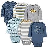 Gerber Baby Boys' 6-Pack Long-Sleeve Onesies Bodysuit, Dinosaur Blue, 0-3 Months