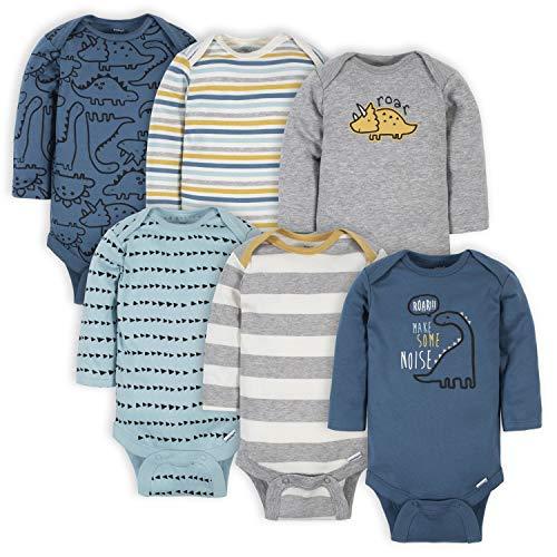 Gerber Baby Boys' 6-Pack Long-Sleeve Onesies Bodysuit, Dinosaur Blue, 6-9 Months