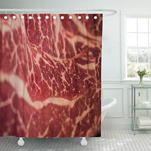Funny Bag Shower Curtain Red Fat Marbling Japanese Beef Raw Fresh Meat Jerky Waterproof Polyester...