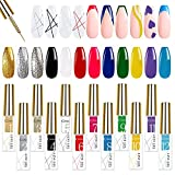 Coosa 12 Colors Painting Drawing Liner Pen Gel with Brush Nail Panting Polish Gel Nail Art Wire Drawing Gel for Line Drawing Nail Paint Pull Line Nail Art Decoration