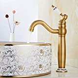 Mezclador lavabo baño antiguo vintage grifo bronce alto de baño monomando de...