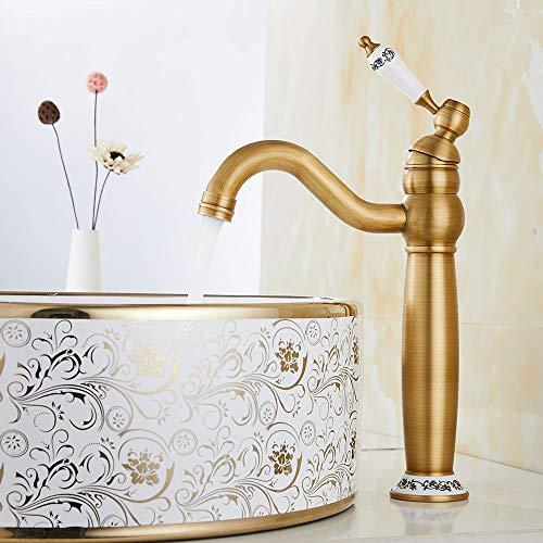 Mezclador lavabo baño antiguo vintage grifo bronce alto de baño monomando de cerámica floral para lavabo (alto, bronce)