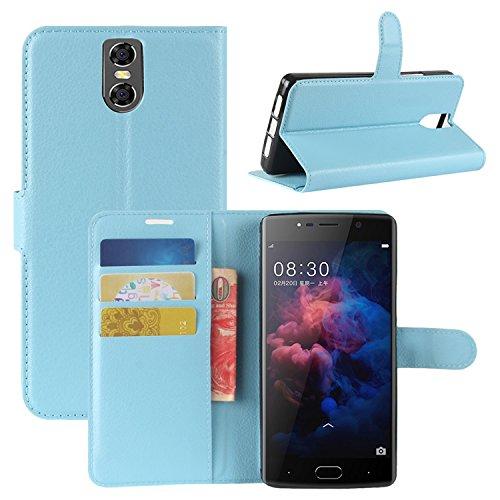 HualuBro DOOGEE BL7000 Hülle, Premium PU Leder Leather Wallet HandyHülle Tasche Schutzhülle Hülle Flip Cover mit Karten Slot für Doogee BL7000 5.5 Inch Smartphone (Blau)
