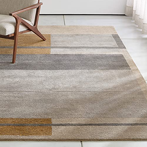 Crate and Barrel Kirk Color Block Rug Handmade Tufted 100% Wool Rugs & Carpets (6'x9')