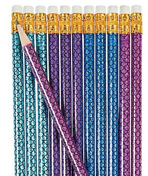 Magical Mermaid Favor Bundle for 24 | Glitter Notepads, Mermaid Scale Pencils in Shiny Foil & Mermaid Tail Eraser Toppers | 72 Total Pieces for Birthday, Shower, Pool or Beach Party