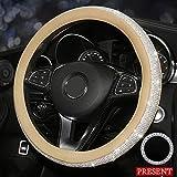 config Women Steering Wheel Cover Girls Bling Diamond Rhinestones Microfiber Leather Universal Fit 15 Inch Anti-Slip Wheel Protector (Beige-White)