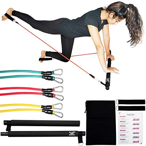 IM UNLIMITED Pilates Bar Kit with Resistance Bands, Portable Workout Equipment, Home Gym Stretch Kit, Full Body Exercise Stick, Home Fitness, Portable Fitness, Toning Bar, Exercise Bar,Barre (Black)