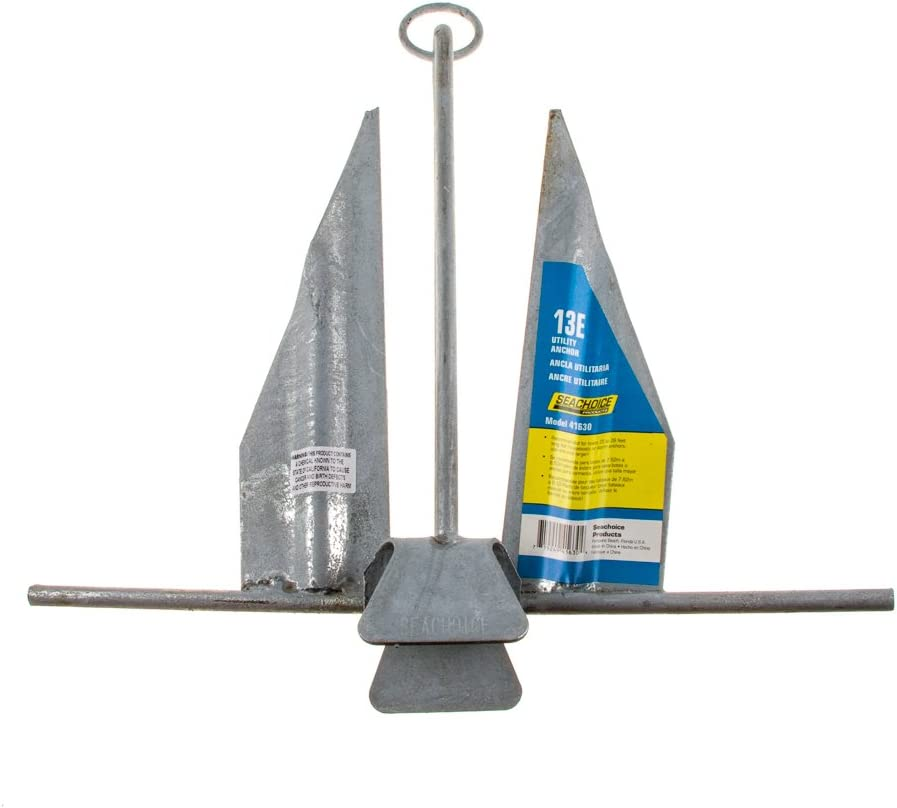 Hot-Dipped Galvanized Steel or PVC Coated Seachoice Utility Anchor with Slip Ring Shank Multiple Sizes