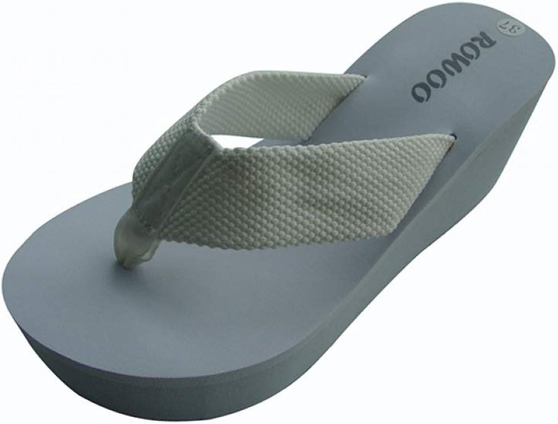 RonKite Ladies High Heels Wedges Slippers Black Sandals EVA Flip Flops Beach Sandals