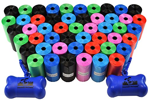 Downtown Pet Supply Dog Pet Waste Poop Bags with 2 Leash Clips and Dispensers (1000 Bags, Rainbow of Colors)