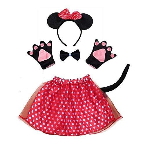 Juego de disfraz de Mickey Mouse, para nia, tut, diadema, guantes, pajarita, cola y disfraz de Halloween, cosplay, color rojo