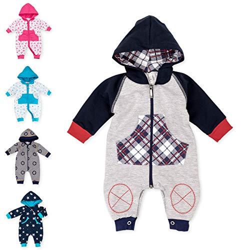 Baby Sweets Baby Overall Jumpsuit mit Kapuze für Jungen in Grau Rot Dunkelblau im Karo-Muster/Babystrampler als Overall für Baby und Kleinkind für Outdoor und Indoor in Größe: 12 Monate (80)