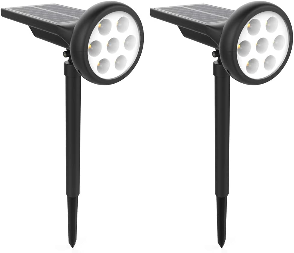 Solar Landscape Spot Lights Outdoor 7 LED IP65 Waterproof Auto On/Off Free to Choose Warm White and Cool White Outdoor Solar Lights for Garden 2 Pack