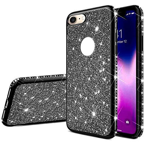Jinghuash Kompatibel mit iPhone 6/iPhone 6S Plus Handyhülle Glitzer Bling Glänzend Strass Diamant Hülle Ultradünn Stoßfest Überzug TPU Silikon Tasche Schutzhülle für iPhone 6/iPhone 6S Plus-Schwarz