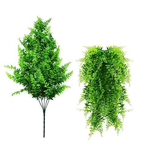SEEKVER 2 pcs Artificiales Boston Ferns Plantas,Colgantes de vides Falsas, para Pared Cestas Colgantes de Interior Decoración de guirnaldas de Boda (Verde)