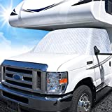Q QUNSUNUS RV Windshield Cover Class C Compatible with Ford 1997-2020 RV Front Window Cover RV Motorhome Windshield Cover with Mirror Cutouts