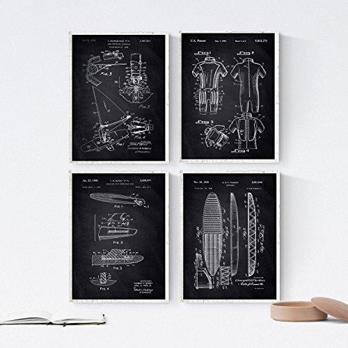 Nacnic SCHWARZ Vintage Surf Patent Poster 4-er Set. Vintage Stil Wanddekoration von Surfbrett, Neoprenanzug und alte Erfindungen. Verschiedene geometrische Sport Bilder ohne Rahmen. Größe A4.