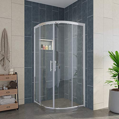 ELEGANT Center on Sliding Shower Enclosure, Corner Round Cubicle Shower Doors with 1/4 in. Clear Glass, 36 7/10 in. x 36 7/10 in. x 71 4/5 in, Chrome Sliding Bathroom Door