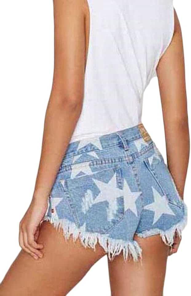 MOUTEN Womens Low Waisted Tassles Star Print Short Cheeky Denim Thong Shorts Hot Jeans