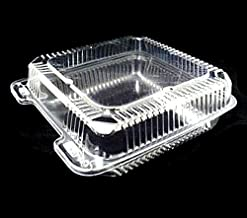 "Durable Packaging 8"" x 8"" x 3"" Clear Hinged Plastic Food Bakery Take-Out Container (pack of 25)"
